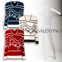 VALENTINO Casual Style V-Neck Sweaters