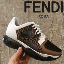 FENDI Monogram Blended Fabrics Street Style Leather Sneakers