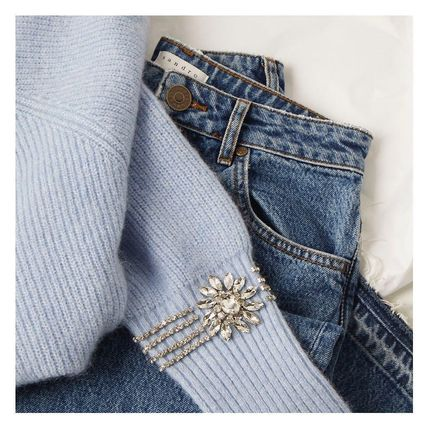 Short Casual Style Wool Long Sleeves Plain With Jewels