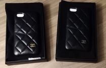 CHANEL Plain Leather iPhone 8 iPhone 8 Plus Smart Phone Cases