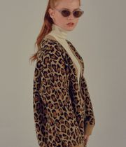 SCULPTOR Leopard Patterns Wool Long Sleeves Cardigans