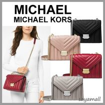 Michael Kors WHITNEY 2WAY Chain Plain Leather Elegant Style Shoulder Bags