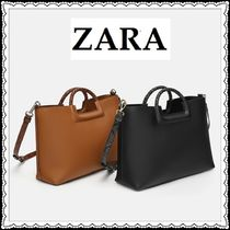 ZARA 2WAY Plain Other Animal Patterns Office Style Totes