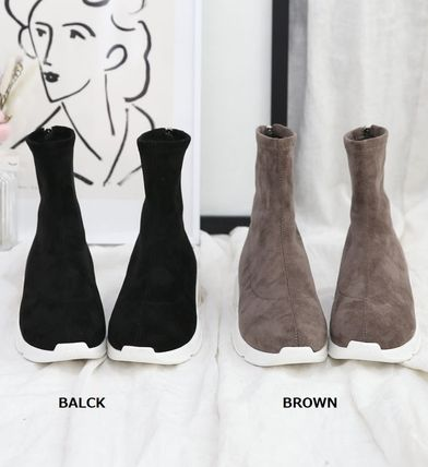 Argile Wedge Round Toe Casual Style Suede Street Style Plain