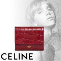 CELINE Tri Fold Calfskin Other Animal Patterns Bold Folding Wallets