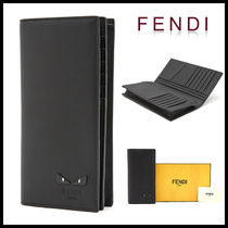 FENDI BAG BUGS Plain Leather Long Wallets