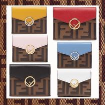 FENDI Monogram Leather Folding Wallets