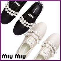 MiuMiu Rubber Sole Casual Style With Jewels Low-Top Sneakers