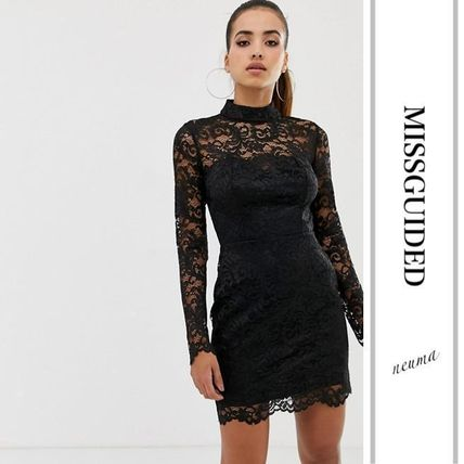 Short Tight Long Sleeves High-Neck Lace Elegant Style