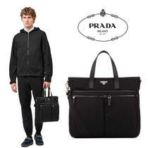 PRADA Unisex Nylon A4 2WAY Plain Totes