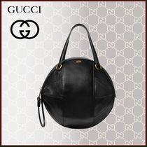 GUCCI Unisex Blended Fabrics Street Style Plain Leather Totes