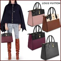 Louis Vuitton CITY STEAMER Blended Fabrics 2WAY Bi-color Plain Leather Elegant Style