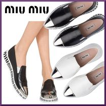 MiuMiu Rubber Sole Casual Style Leather Low-Top Sneakers