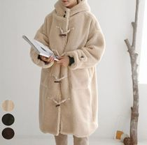 Casual Style Plain Medium Oversized Khaki Duffle Coats