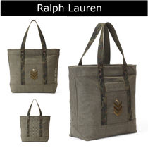 Ralph Lauren Star Camouflage Casual Style Leather Totes