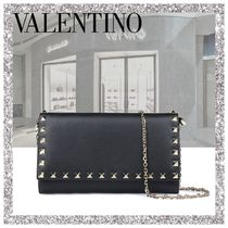 VALENTINO Calfskin Studded Chain Plain Long Wallets