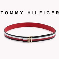Tommy Hilfiger Stripes Casual Style Unisex Street Style Leather Belts