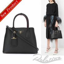 PRADA DOUBLE Saffiano 2WAY Bi-color Elegant Style Handbags