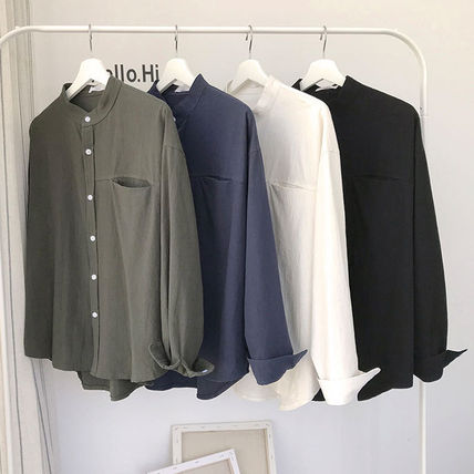 Shirts Street Style Long Sleeves Plain Shirts 8