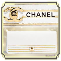 CHANEL Stripes Calfskin Elegant Style Clutches