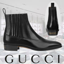 GUCCI Plain Toe Plain Leather Chukkas Boots
