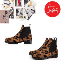 Christian Louboutin Leopard Patterns Plain Toe Casual Style Leather
