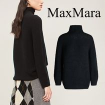 MaxMara Wool Cropped Plain Medium Elegant Style Turtlenecks