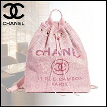 CHANEL Casual Style Blended Fabrics Backpacks