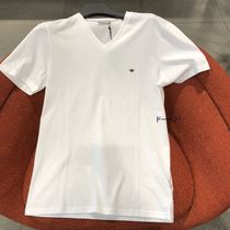 Christian Dior Street Style V-Neck Plain Cotton Short Sleeves