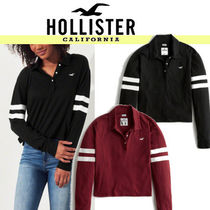 Hollister Co. Stripes Street Style Long Sleeves Polo Shirts