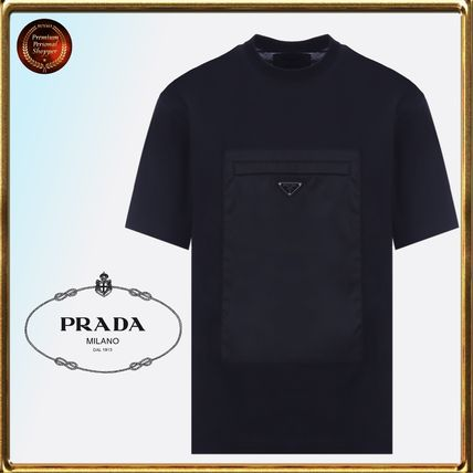PRADA Crew Neck Crew Neck Plain Cotton Short Sleeves Crew Neck T-Shirts