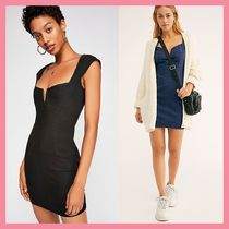 Free People Short Casual Style Tight Denim Plain Short Sleeves Dresses
