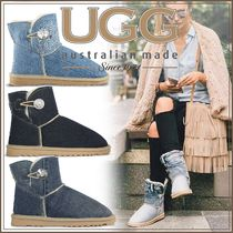 Casual Style Sheepskin Plain With Jewels