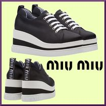 MiuMiu Stripes Platform Casual Style Blended Fabrics
