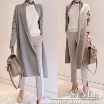 Long Sleeves Plain Medium Office Style Gowns Cardigans
