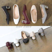 Square Toe Faux Fur Plain Office Style Chunky Heels