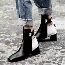 Casual Style Bi-color Plain Leather Ankle & Booties Boots