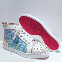Christian Louboutin Other Check Patterns Round Toe Leather Low-Top Sneakers