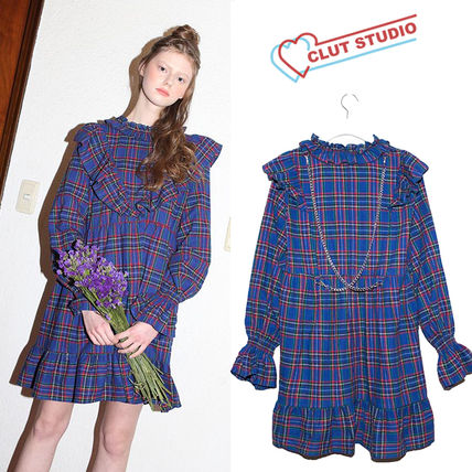 Tartan Casual Style A-line Street Style Long Sleeves Chain