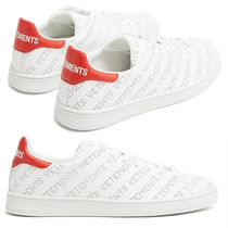 VETEMENTS Round Toe Lace-up Casual Style Leather Logo Low-Top Sneakers