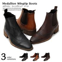 Wing Tip Faux Fur Street Style Plain Chelsea Boots Oxfords