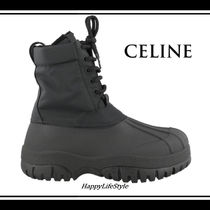 CELINE Round Toe Rubber Sole Casual Style Blended Fabrics Plain