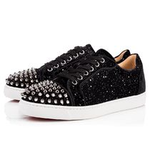 Christian Louboutin Round Toe Rubber Sole Lace-up Velvet Studded Plain