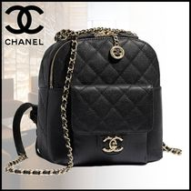 CHANEL Calfskin Chain Elegant Style Backpacks