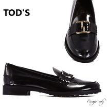 TOD'S Leather Elegant Style Loafer Pumps & Mules