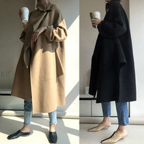 Wool Plain Long Office Style Oversized Khaki Wrap Coats