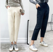 Plain Cotton Long Office Style Cropped & Capris Pants