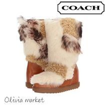 Coach Casual Style Fur Blended Fabrics Street Style Flat Boots