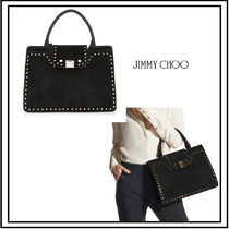 Jimmy Choo Suede Studded A4 Plain Office Style Totes