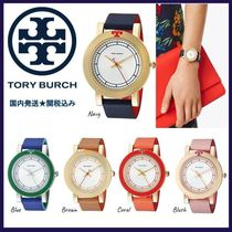 Tory Burch Leather Round Analog Watches